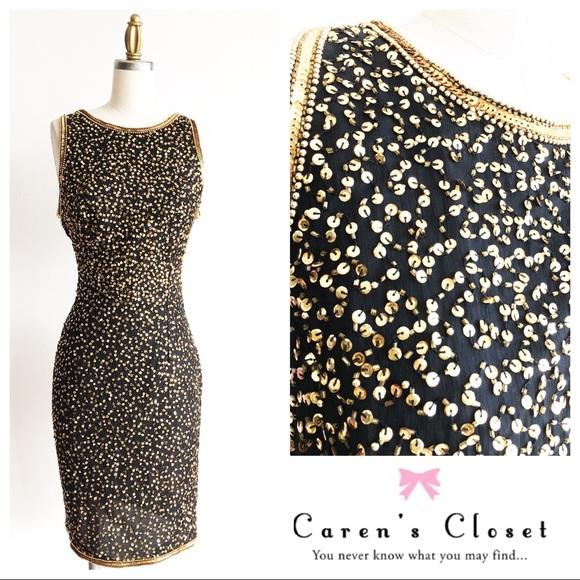 1da05c03de60b Adrianna Papell Black/ Gold Sequin Cocktail Dress
